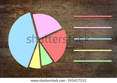 Round chart with sectors on wooden background - stock photo