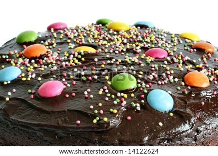 round chocolate birthday cake - stock photo