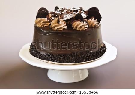 Round chocolate cake with frosting on a plate - stock photo