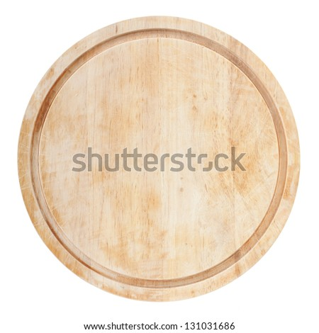 Round chopping board. Isolated on white background. View from above - stock photo