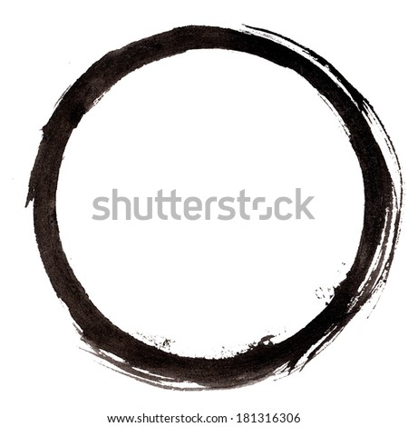 Round/circle painted frame. Ink on rough textured paper. - stock photo
