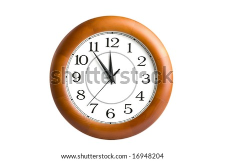 round clock showing time about twelve isolated - stock photo
