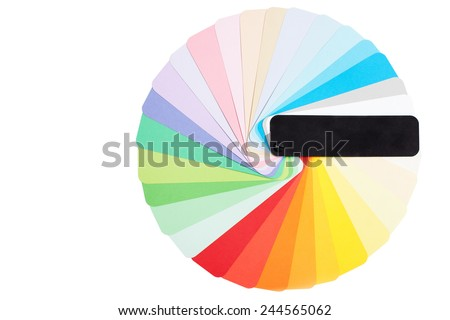 Round color pantone palette. A lot of colors sample isolated on white - stock photo