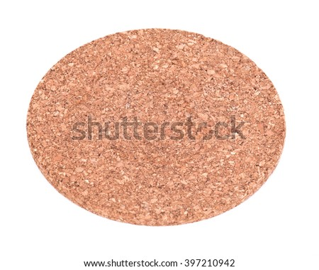 Round cork board separated on white background