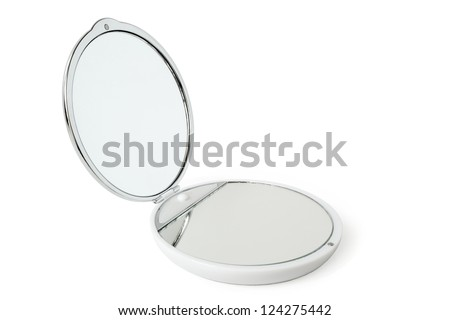 Round cosmetic mirror on a white background - stock photo