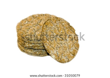 round crispbread isolated on white - stock photo