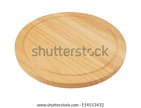 Round cutting board isolated on white background