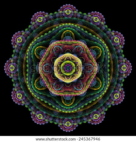 Round 3D mandala on black background. Abstract multilayer round fractal. - stock photo