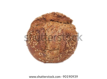 round delicious Bread loaf isolated on white - stock photo