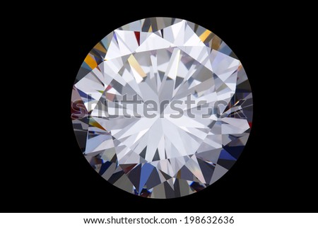 round diamond - isolated on black background  - stock photo
