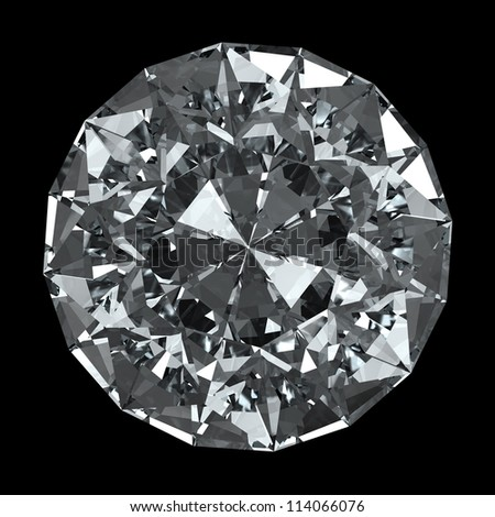 round diamond - isolated on black background with clipping path - stock photo