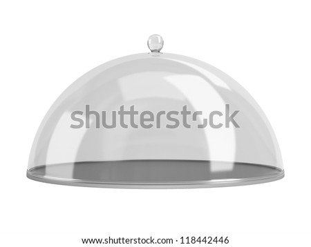 Round dish closed by the transparent calotte. Isolated on a white background. - stock photo