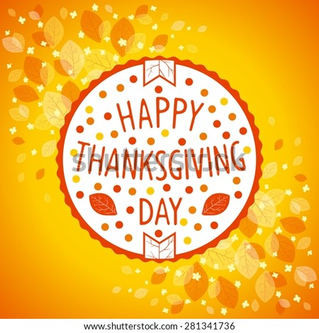 Round emblem for Thanksgiving day holiday on floral background - stock photo