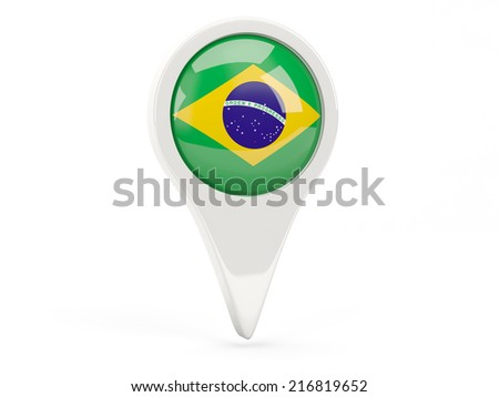 Round flag icon of brazil isolated on white - stock photo