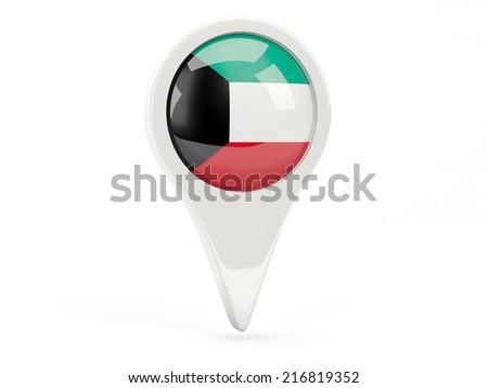 Round flag icon of kuwait isolated on white - stock photo