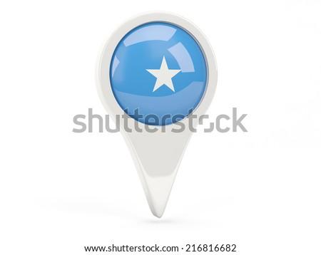 Round flag icon of somalia isolated on white - stock photo