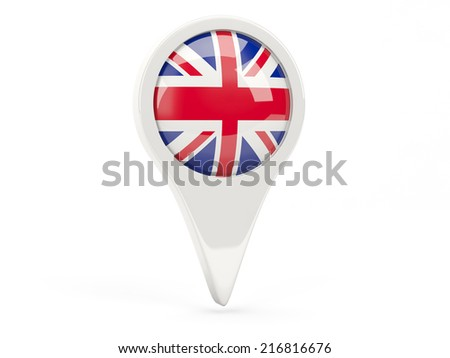 Round flag icon of united kingdom isolated on white - stock photo