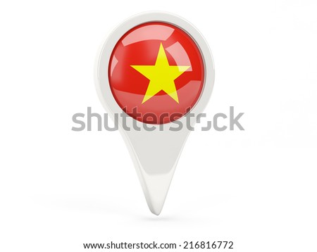 Round flag icon of vietnam isolated on white - stock photo