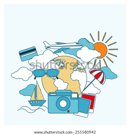 Round flat conceptual illustration of international business travel by airplane. Tourist icons around the planet. Raster version - stock photo