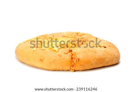 Round flat loaf of white bread with cheese isolated on white - stock photo