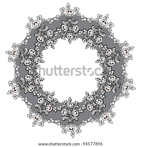 Round floral frame - stock photo