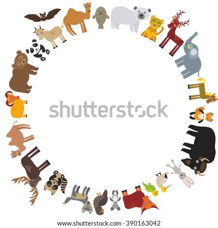 round frame. animal card template. bison bat fox wolf elk horse camel partridge fur seal Walrus goats Polar bear Eagle bull raccoon panda leopard Brown bear deer gannet elephant.  - stock photo