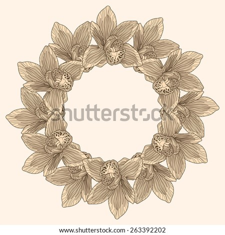 Round frame made of orchid flower engraving
