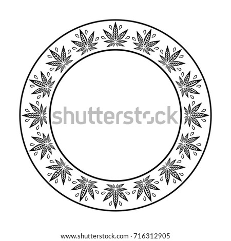 Round Frame Cannabis Border Stylized Hemp Stock Illustration ...