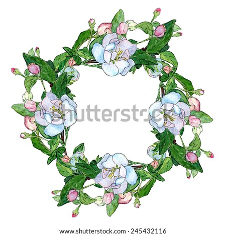 Round frame of flowering branches of apple on a white background. Ready element for design card or invitation. Watercolor. - stock photo