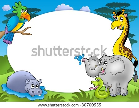 Round frame with African animals - color illustration. - stock photo