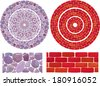 Round frames with Stone and brick Background. Raster version - stock