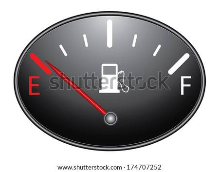 Round fuel indicator illustration on black background, raster version. Fuel gauge indicating nearly empty.