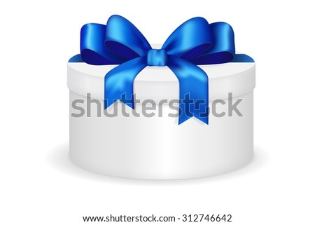 Round gift box with blue row. Christmas gift for men. Raster version isolated on white background