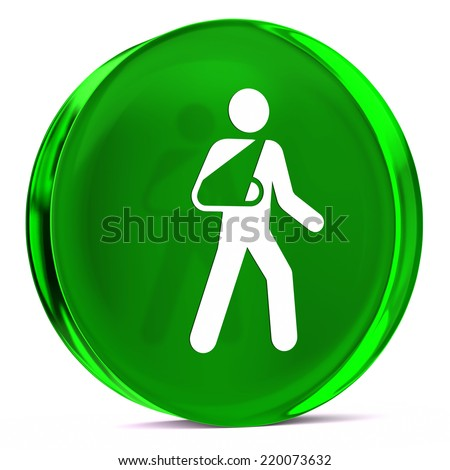 Round glass icon with white health care sign or symbol - stock photo
