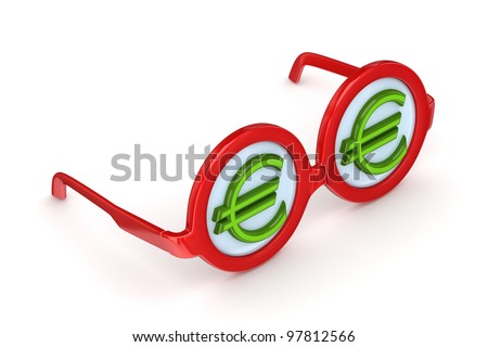 Round glasses with euro sign.Isolated on white background.3d rendered. - stock photo