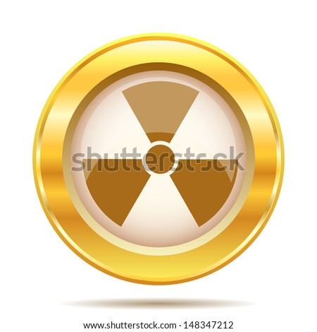 Round glossy icon with brown design on gold background