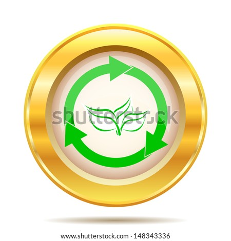 Round glossy icon with green and white design on gold background