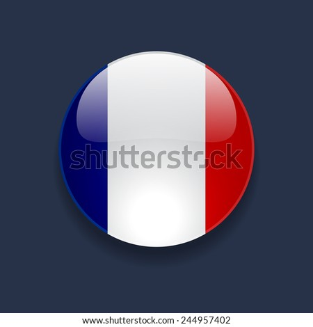 Round glossy icon with national flag of France on dark blue background - stock photo