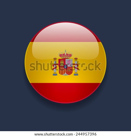 Round glossy icon with national flag of Spain on dark blue background - stock photo
