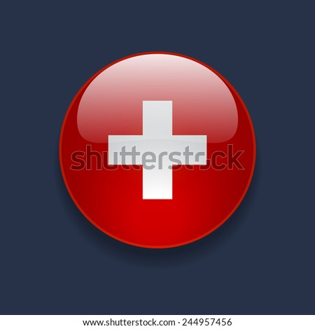 Round glossy icon with national flag of Switzerland on dark blue background - stock photo