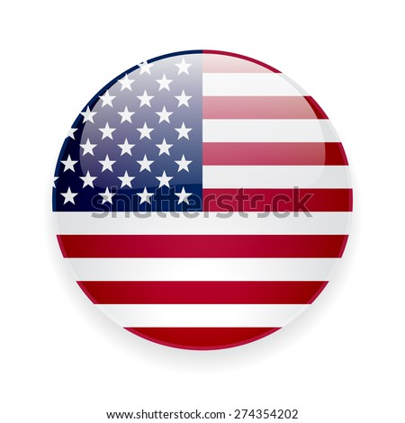 Round glossy icon with national flag of the USA on white background - stock photo