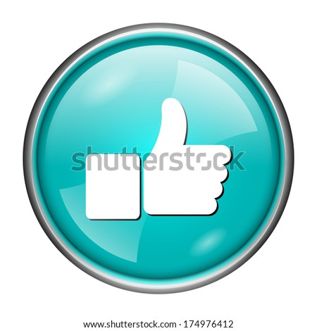Round glossy icon with white design on aqua background