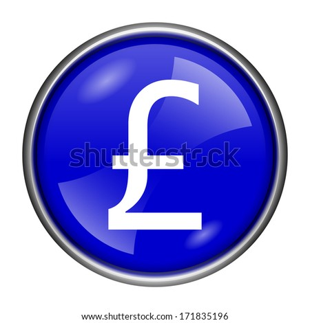 Round glossy icon with white design on blue background
