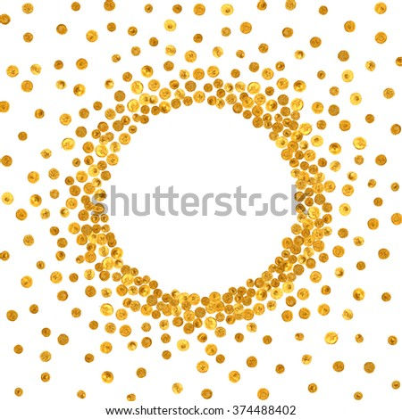 Round gold frame or border on white background. Pattern of golden acrylic confetti. Design element for festive banner, card, invitation, label, postcard, vignette. Raster copy of vector file. - stock photo