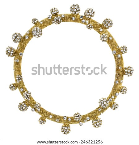 Round Gold Picture Frame with Rhinestone Balls - stock photo