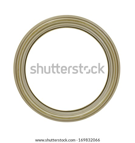 round golden frame isolated on white background with clipping path