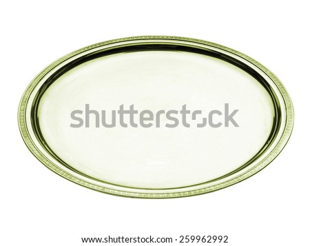 round golden tray - stock photo