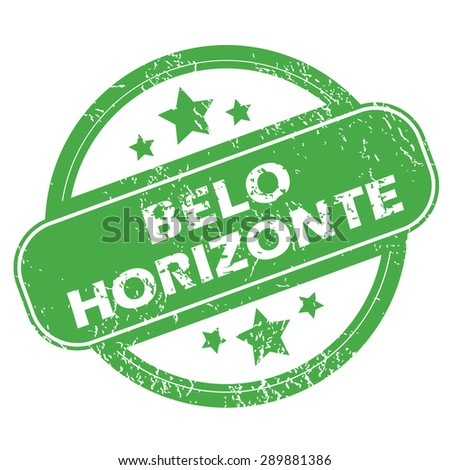 Round green rubber stamp with name Belo Horizonte and stars, isolated on white