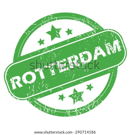 Round green rubber stamp with name Rotterdam and stars, isolated on white - stock photo