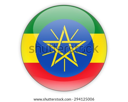 Round icon with flag of ethiopia isolated on white